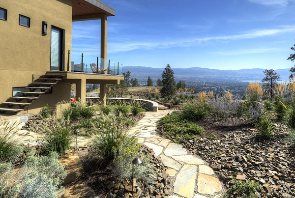 Stone walkway and landscape design