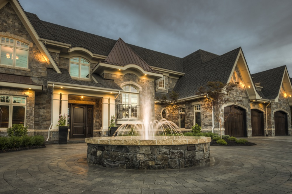 Water feature with stone work